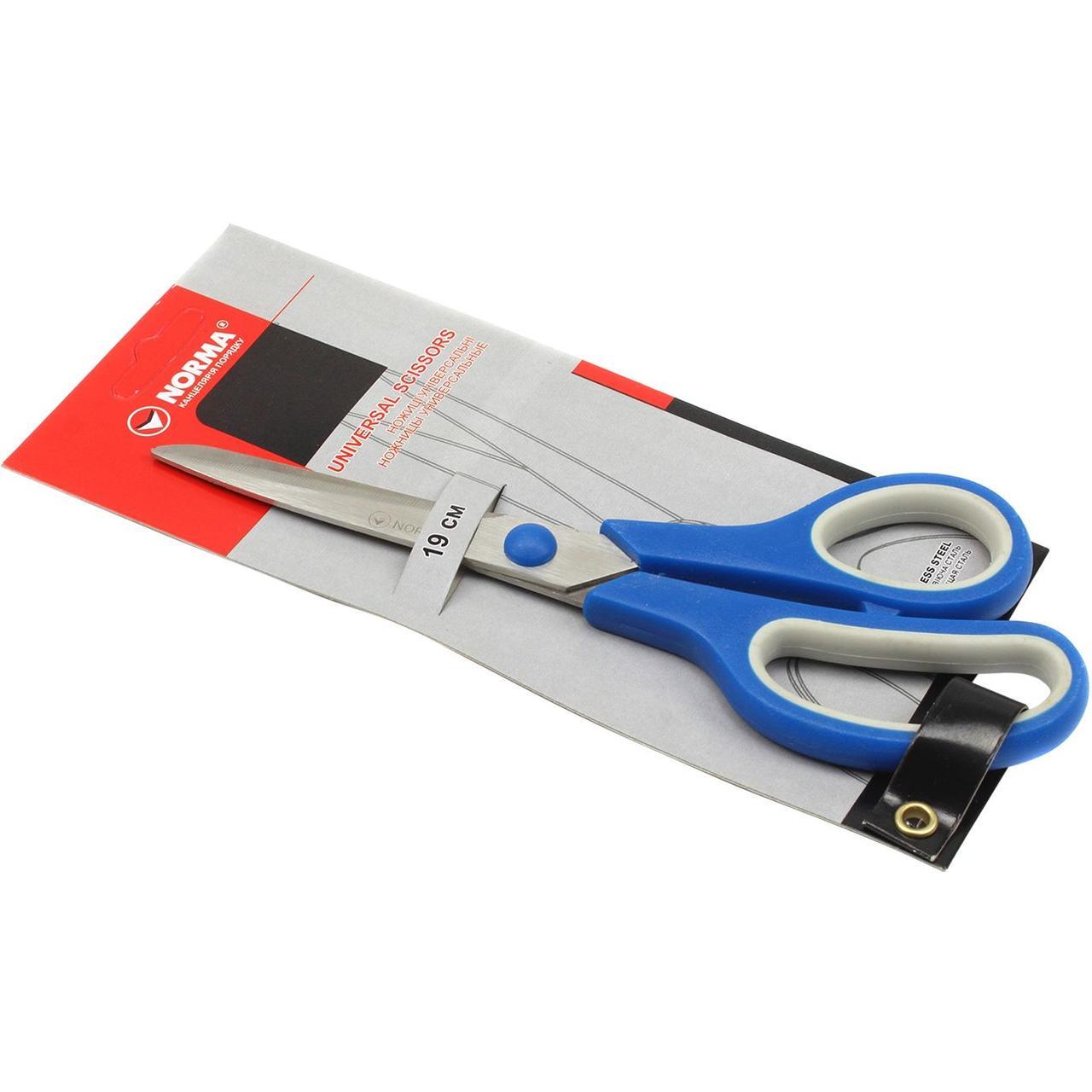 Ножиці канцелярські, довжина 19 см, прогумовані ручки, 4220, NORMA (1/12)