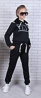 """Спортивный костюм подростковый для девочки """"VLTN"""" от 9 до 14 лет, черный"""