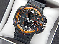 Спортивные мужские наручные часы Casio G-Shock GW-А1100 - черные с оранжевым