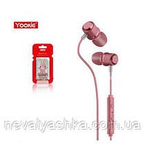 Наушники РОЗОВЫЕ с микрофоном магнитный замок Yookie Y618N, вакуумные наушники с магнитом Юки 618