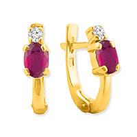 Золотые серьги с рубинами и бриллиантами 0,14 карат