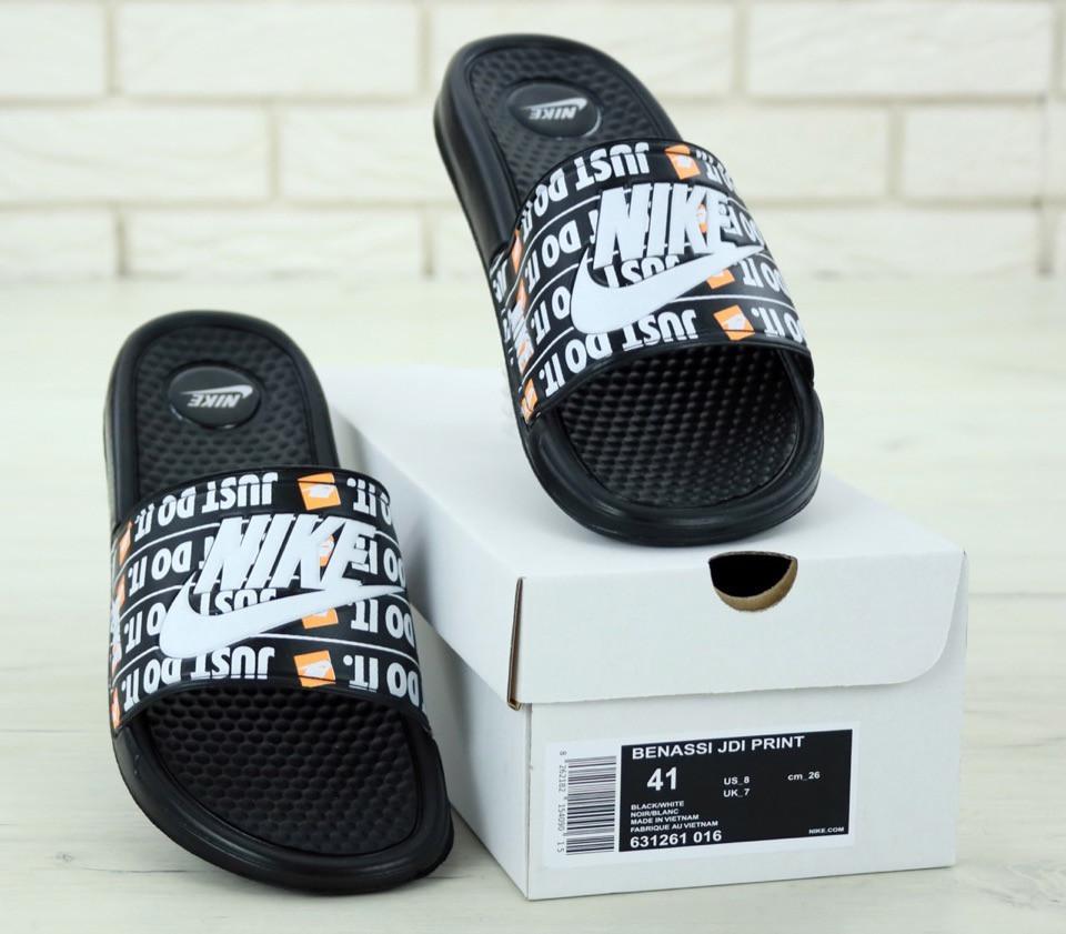 Nike just du it Black, мужские шлепанцы найк. ТОП Реплика ААА класса.