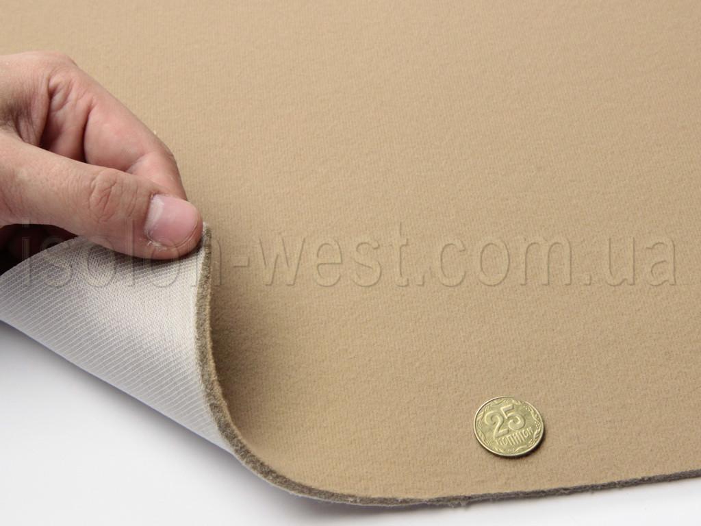 Ткань оригинальная потолочная  светло-коричневая (Германия), велюр на поролоне с сеткой шир. 1.32м