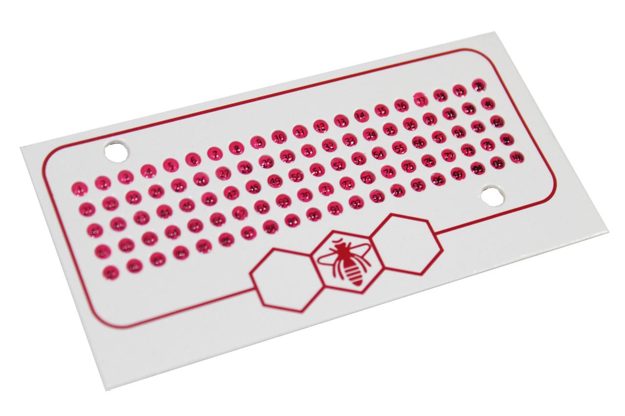 Метки Номерные (1-99) опалитовые, красный цвет 2018, 2023. Чехия