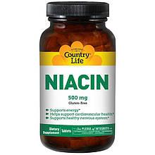 """Ниацин Country Life """"Niacin"""" никотиновая кислота, 500 мг (90 таблеток)"""