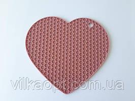 """Подставка силиконовая коврик под горячее Салфетка для чашки и тарелки """"Сердце """" d 18 cm."""