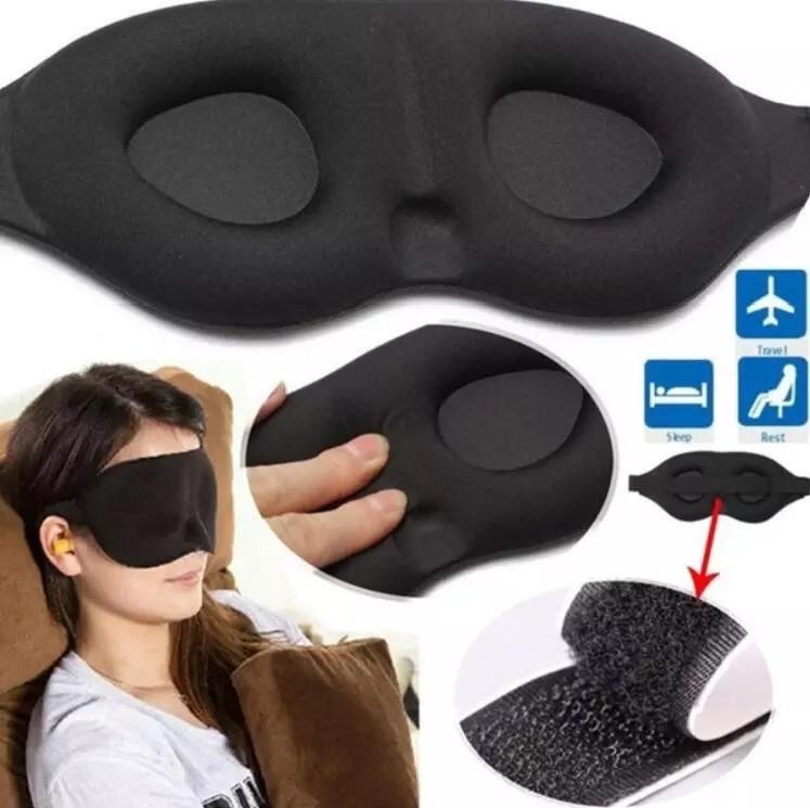 Светонепроницаемая мягкая маска для сна, чёрная