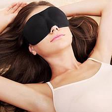 Светонепроницаемая мягкая маска для сна, чёрная, фото 3