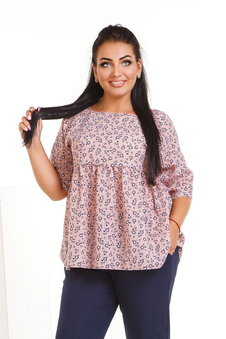 Блуза женская летняя из батиста с кокеткой (К28285)