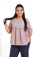 Блуза женская летняя из батиста с кокеткой (К28285), фото 1