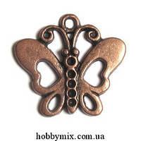 """Метал. подвеска """"бабочка"""" медь (2,5х2,2 см) 8 шт в уп."""