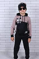 Спортивный костюм подростковый для мальчика с шапкой от 9до 14лет, пудровый