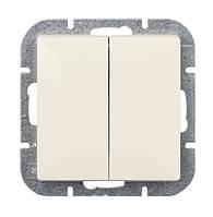 Выключатель двухклавишный проходной Abex Perla 250V/10A бежевый (WP-2/5P-BEZ)