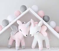 """Гирлянда """"Хлопковые шарики"""" (20 шариков 3,20см)  нежно-розовый белый серый"""
