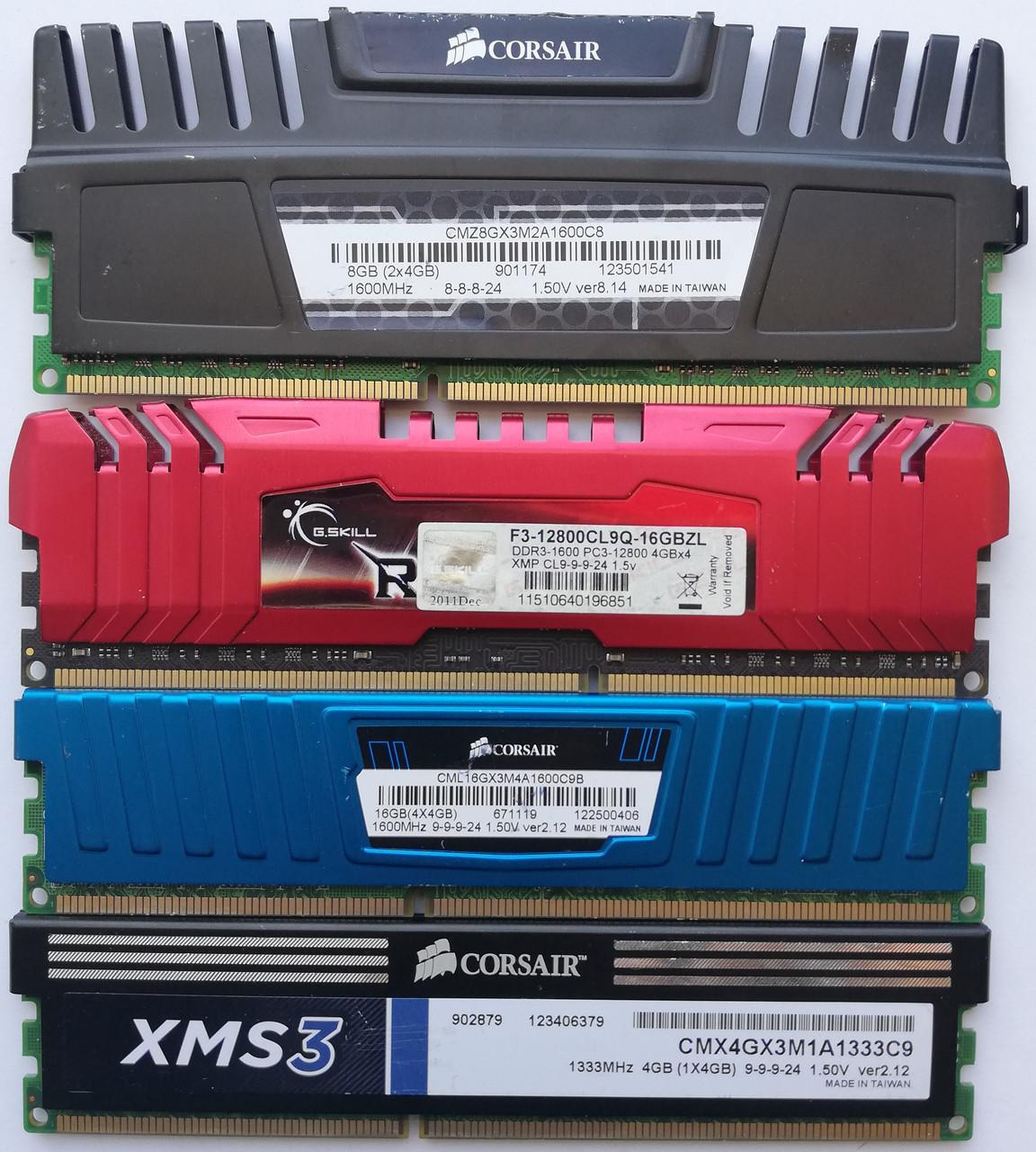 Игровая оперативная память DIMM DDR3 4Gb 1333-1600MHz Б/У Под ремонт и восстановление!