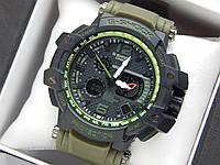 Наручные часы Casio G-Shock GPW-1000 авиатор зеленого цвета, красная стрелка, фото 1