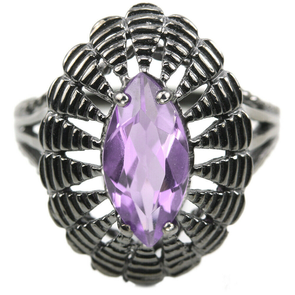 Серебряное кольцо с аметистом, 12*6 мм., 1900КЦА