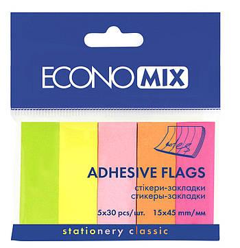 Стикеры-закладки Economix Neon 15х45 мм, 5*30 шт, ассорти