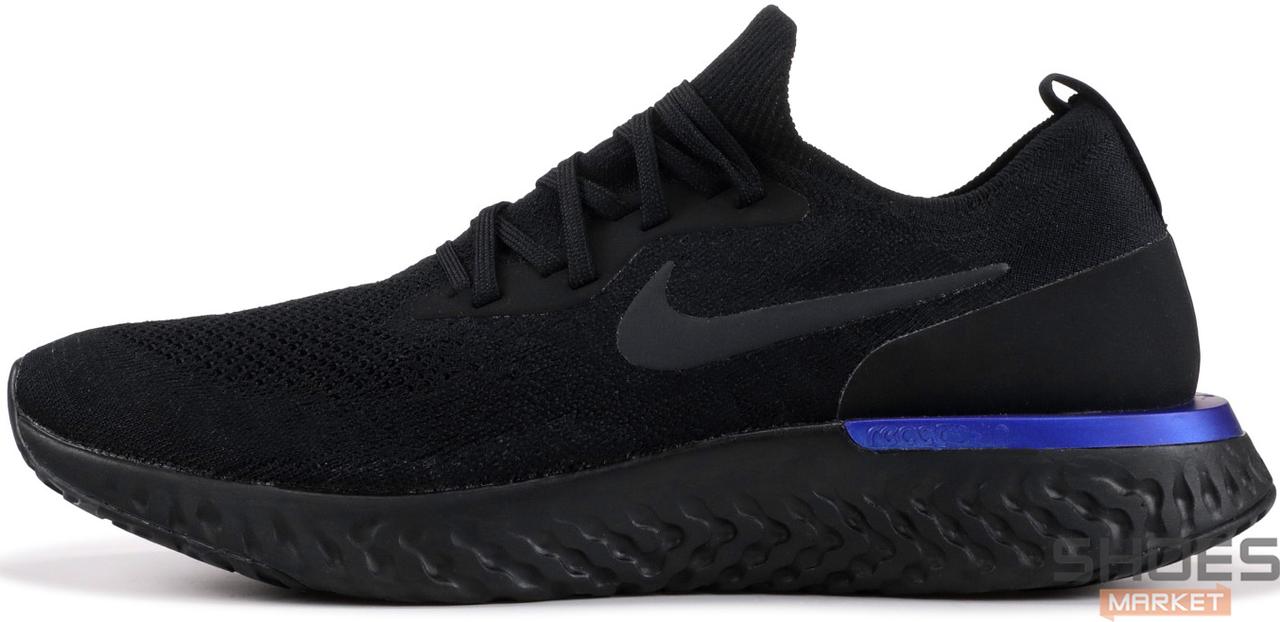 Женские кроссовки Nike Epic React Flyknit Black Blue AQ0067-004, Найк Эпик Реакт Флайнит