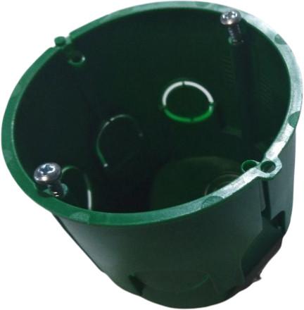 Коробка під електр.ГЛУБОКА  бетон з гвинтами d68  аналог schneider зелен(ціна за шт)(видаємо по 100)