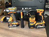 Набір перфоратор AEG BBH18 LI-402C + безщітковий шуруповерт Ridgid R86037 + три акумулятори, фото 1