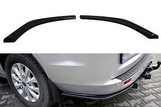 Боковые диффузоры заднего бампера юбка элерон накладки тюнинг Ford Transit Custom MK1 FL рестайл