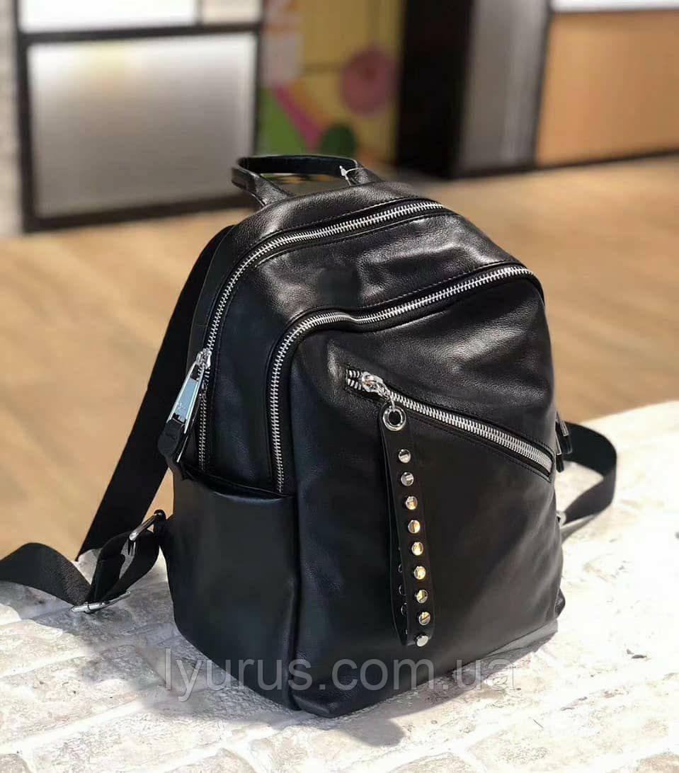 Женский кожаный рюкзак черного цвета на два отделения повседневный