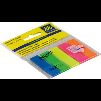 Закладки пластиковые с клейким слоем Buromax Neon 12х45 мм, 5*25 шт, ассорти
