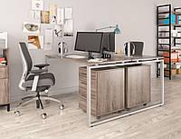 Двойной письменный стол Loft design Q-140 Дуб Палена