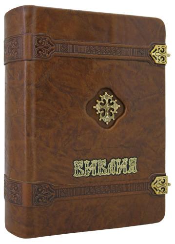 Библия малая на замках в кожаном переплете