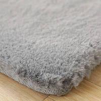 Плюшевый светло серый ковер с ворсом