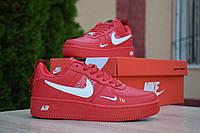 Кроссовки Nike Air Force 1 Mid LV8 женские (топ реплика), красные. Натуральная кожа, код OD-2857