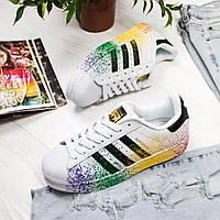 Кроссовки женские Adidas Superstar (белые-цветные) Top replic, фото 1
