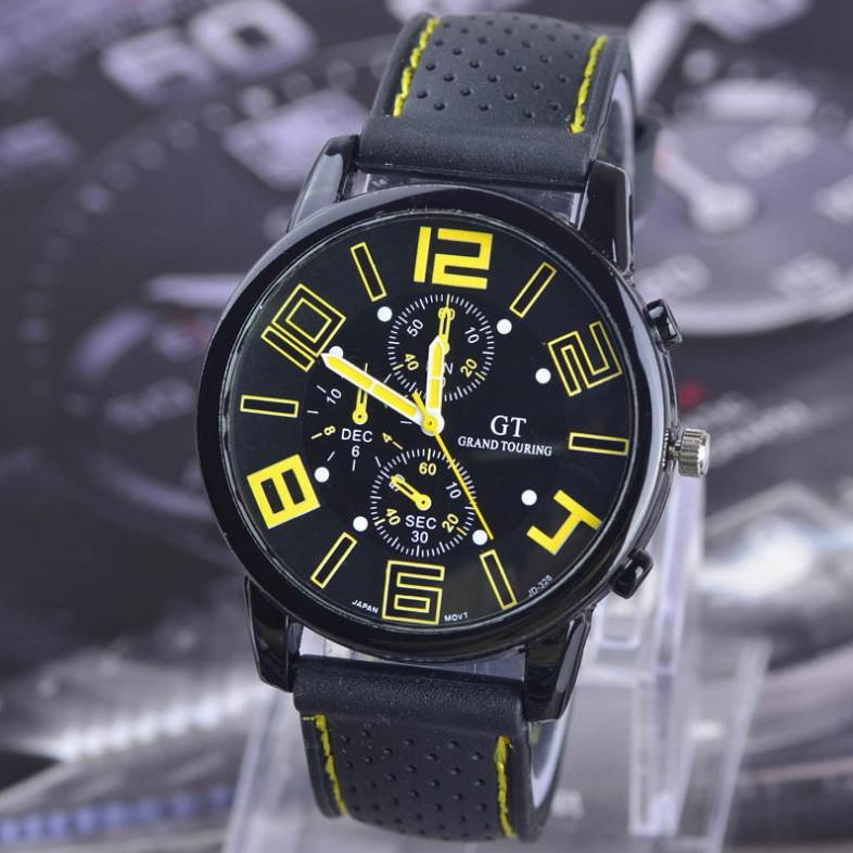Мужские спортивные часы силикон Желтый