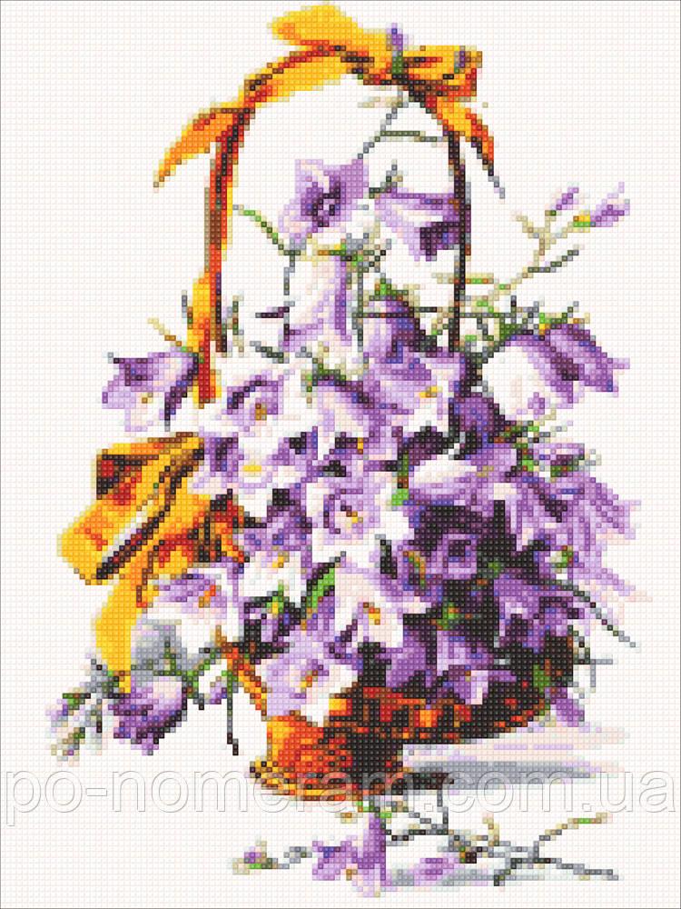 Рисование камнями на холсте Алмазная мозаика Фиолетовые колокольчики (DM-321) 30 х 40 см (Без подрамника)