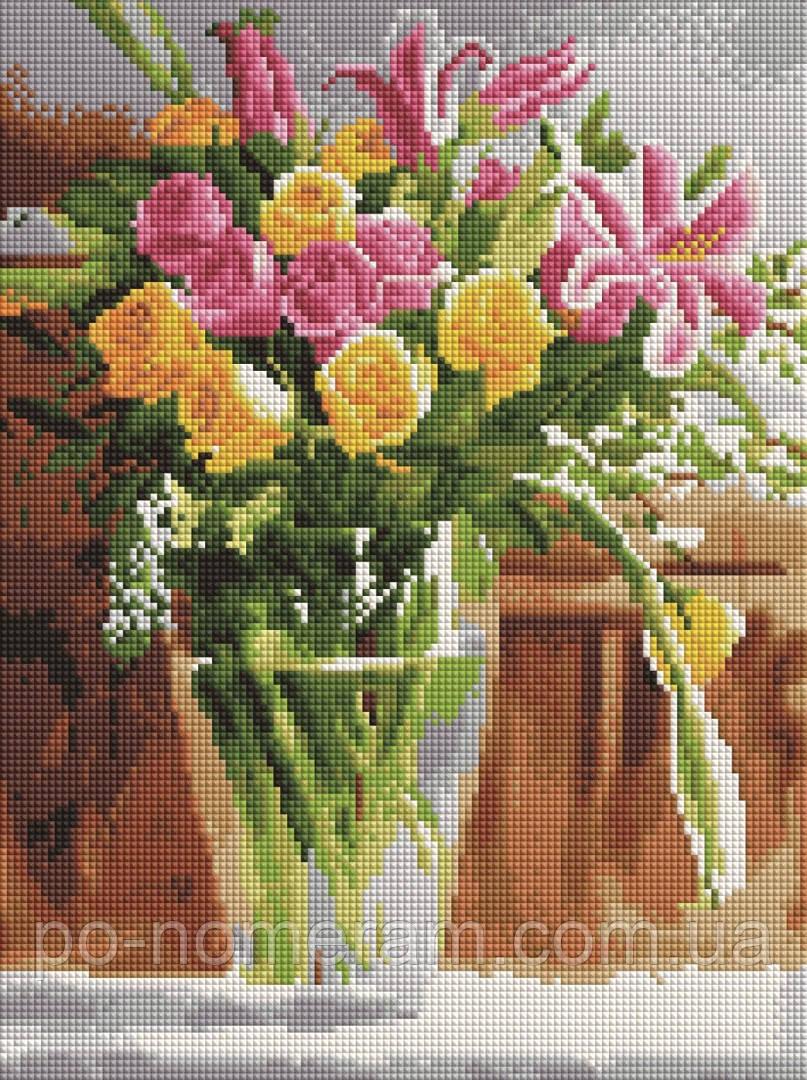 Набір алмазна вишивка Брашми Весенные квіти (EF477) 30 х 40 см