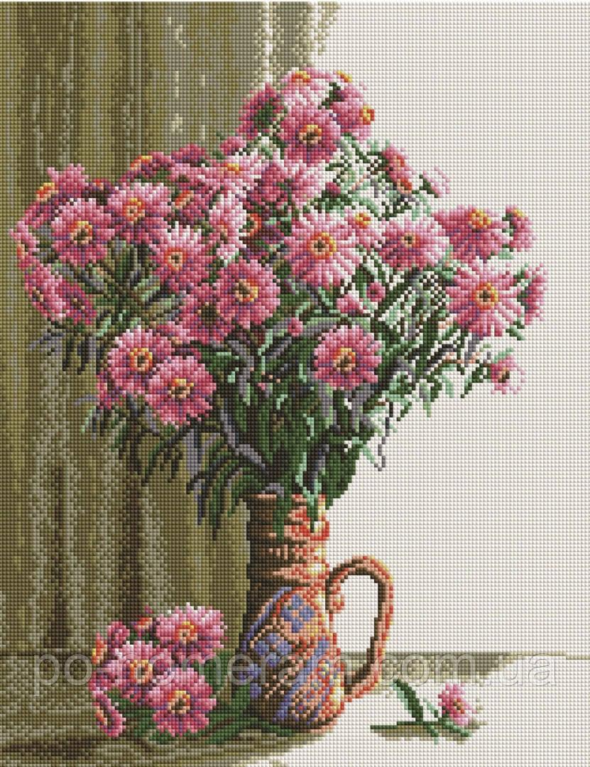 Вышивание камнями Брашми Хризантемы в вазе (GF098) 40 х 50 см (На подрамнике)