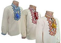 Вишиванка лляна для хлопчика із багатою вишивкою на грудях, фото 1