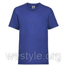Футболка средней плотности хлопковая детская - 61033-51 ярко-синяя