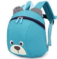 Детский рюкзак Мишка с ремешком и анти-потерянным ремнем Голубой