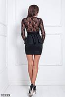 Элегантное нарядное платье футляр с баской на талии и верхом из гипюра Choko