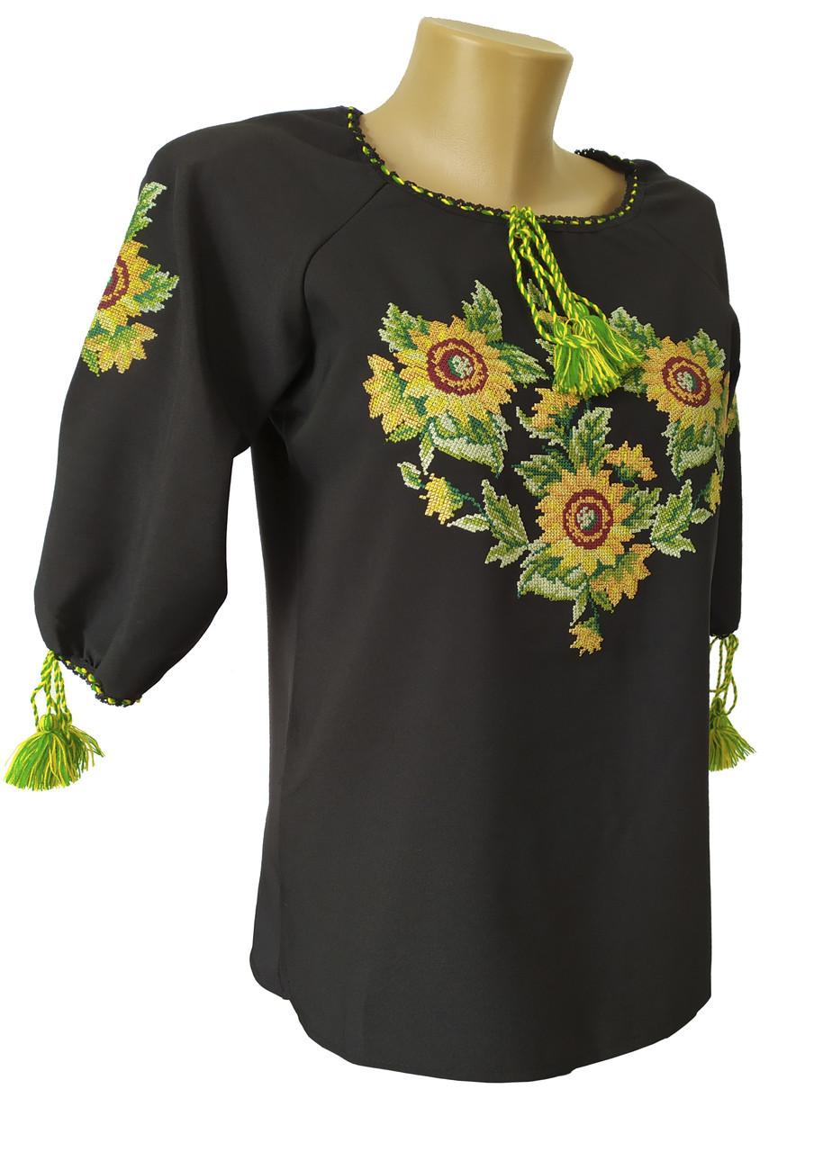 Вишиванка жіноча  чорна з соняшниками норма та батал