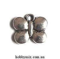 "Метал. подвеска ""бабочка"" серебро (1,2х1,1 см) 15 шт в уп"