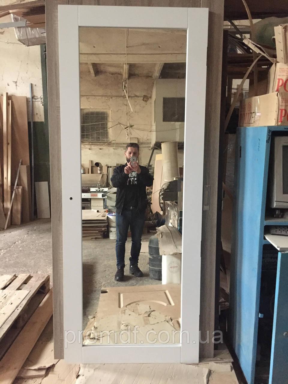 """Дверний блок з декором """"білий супермат"""" + дзеркало"""