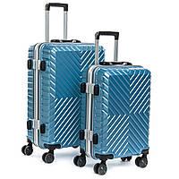 Чемодан комплект 2 в 1 ABS-пластик 07 blue замок, фото 1