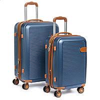 Чемодан комплект 2 в 1 ABS-пластик 8387 blue змейка, фото 1