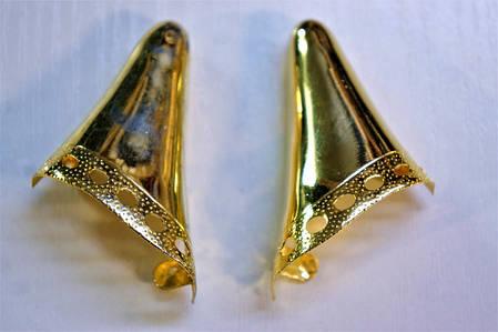 Носики золото (украшение на носок женской обуви) №005, фото 2