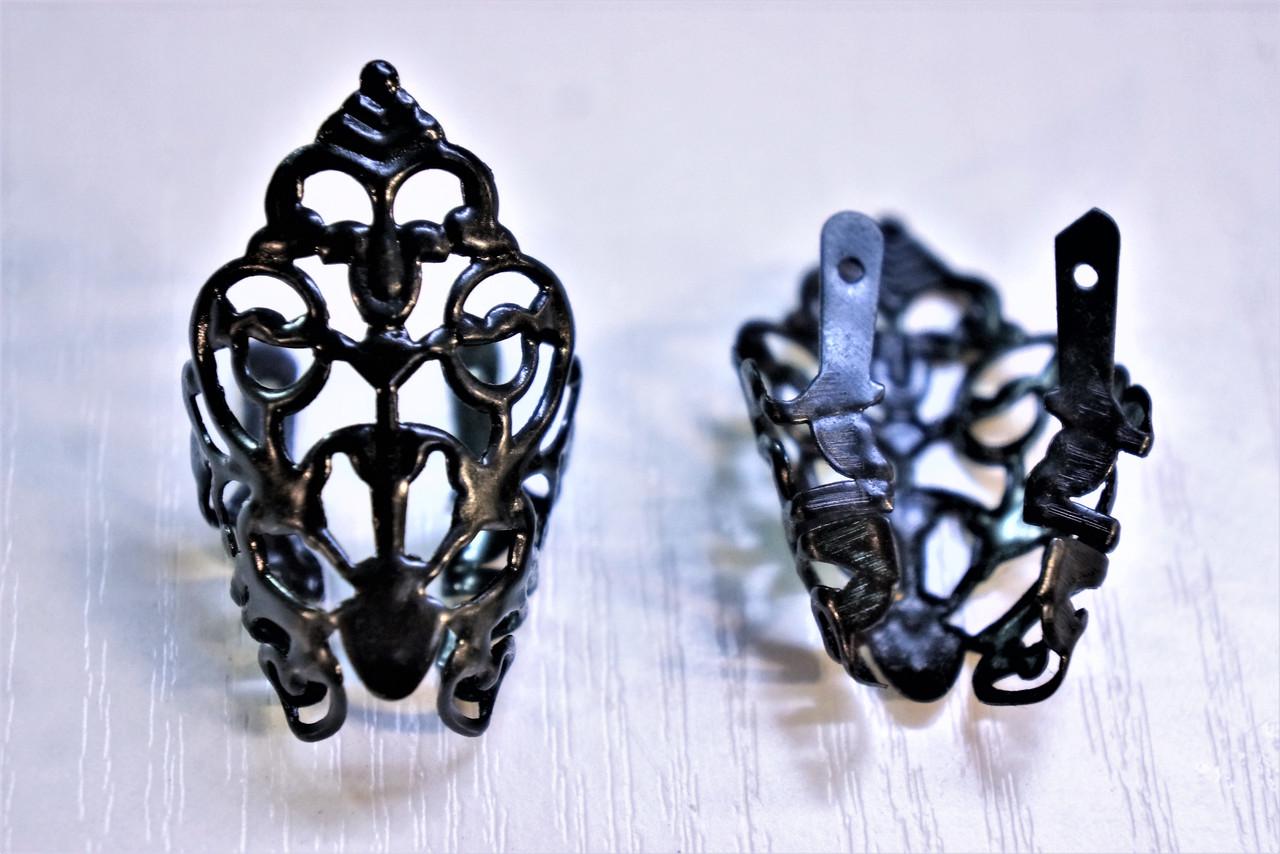 Носики черные (украшение на носок женской обуви) №015