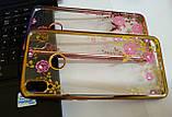 Силіконовий чохол з квітами для Huawei Honor 8X / Скла в наявності, фото 6