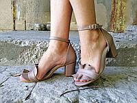 Босоножки женские  натуральная кожа на устойчивом каблуке темный беж